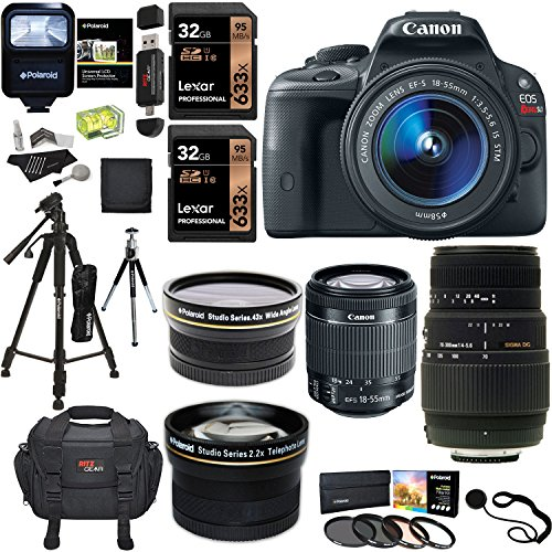 Canon EOS Rebel SL1 Digital SLR with 18-55mm STM Lens + Sigma 70-300mm f/4-5.6 DG Macro Telephoto Lens + Polaroid .43x Super Wide Angle & 2.2X HD Telephoto Lens + 2 Lexar 32GB + Bag + Accessory Bundle For Sale