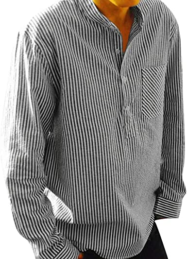 Frieed Mens Long Sleeve Slim Fit Stripe Patchwork Hipster Button Front Shirts