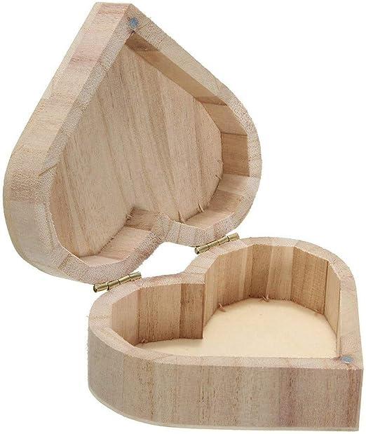 CuteLife Joyero En Forma de corazón almacenaje de la joyería artesanía de Madera Cajas Clippers Caja DIY del Regalo de la decoración (Color : Wood, tamaño : Un tamaño): Amazon.es: Hogar