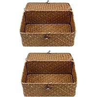 YARNOW 2pcs Seagrass Wicker Storage Bin Basket With Lid Straw Rattan Storage Tea Storage Box With Cover Organizer Home…