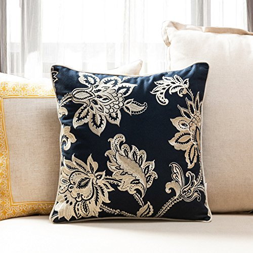 TINA'S HOME French Country Floral Decorative Throw Pillows with Down Feather Filling | Plain Square Accent Pillows for Living Room Sofa Couch Bed Decor (18 x 18 inches, Navy - Plain Accent