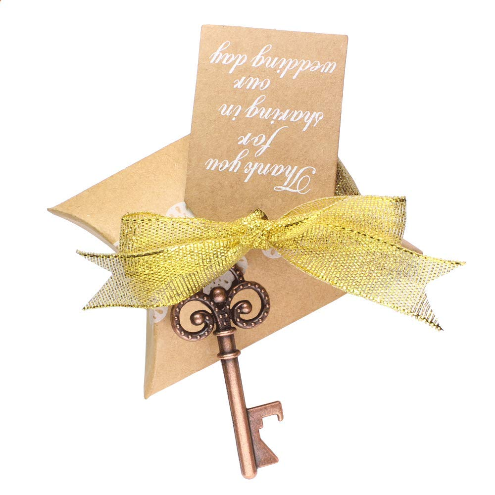 Wedding Favors 50pcs Vintage Decorations Skeleton Key Bottle Openers Candy Pillow Box Escort Card Thank You Tag and Gold Ribbon