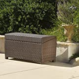 Landry Brown PE Wicker Outdoor Storage Deck Box