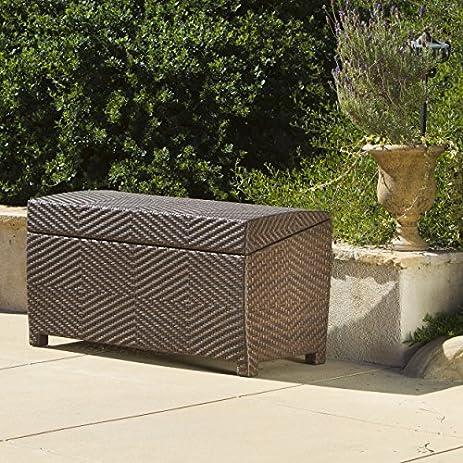 Landry Brown PE Wicker Outdoor Storage Deck Box