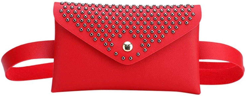 Women Outdoor Rivetshasp Sequins Waist Bag Belt Bag For Women Leather Neutral Solid Fanny Pack Messenger Bag Chest Bag,Red