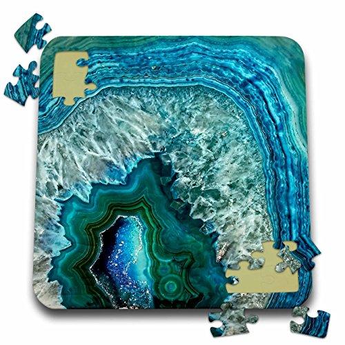 Uta Naumann Pattern - Luxury Aqua Blue Marble Agate Gem Mineral Stone - 10x10 Inch Puzzle (pzl_266902_2)