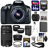 Canon EOS Rebel T6 Wi-Fi Digital SLR Camera & EF-S 18-55mm is II + 75-300mm III Lens + 64GB Card + Case + Flash + Battery & Charger + Tripod Kit