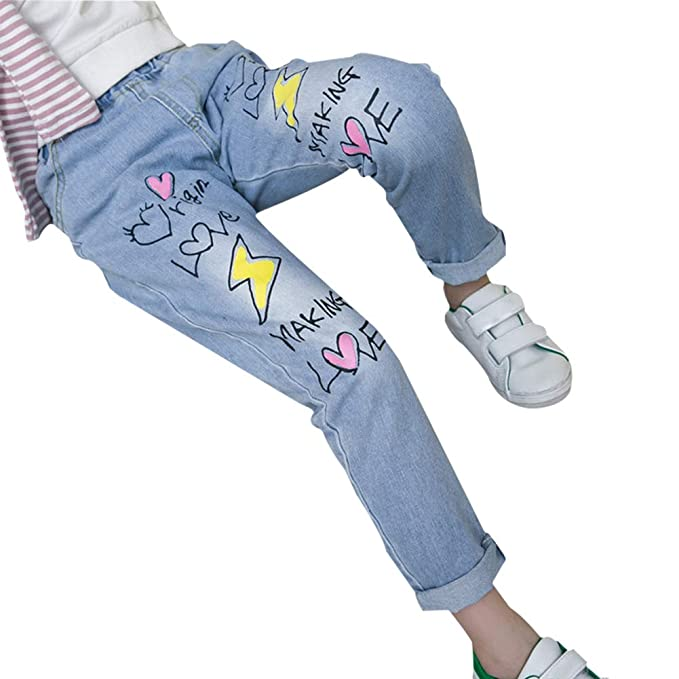 c8c498af02e Amazon.com  Da.Wa Fashion Slim Washed Jeans Light-Colored Slim Letter  Elastic Waist Jeans for Girls  Clothing