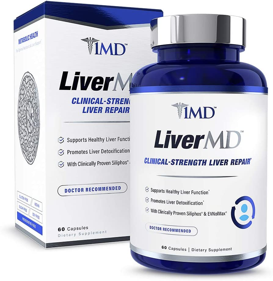 1MD LiverMD - Liver Cleanse Supplement | Milk Thistle Extract - Highly Bioavilable, Clinically Studied for Liver Detox | 60 Capsules