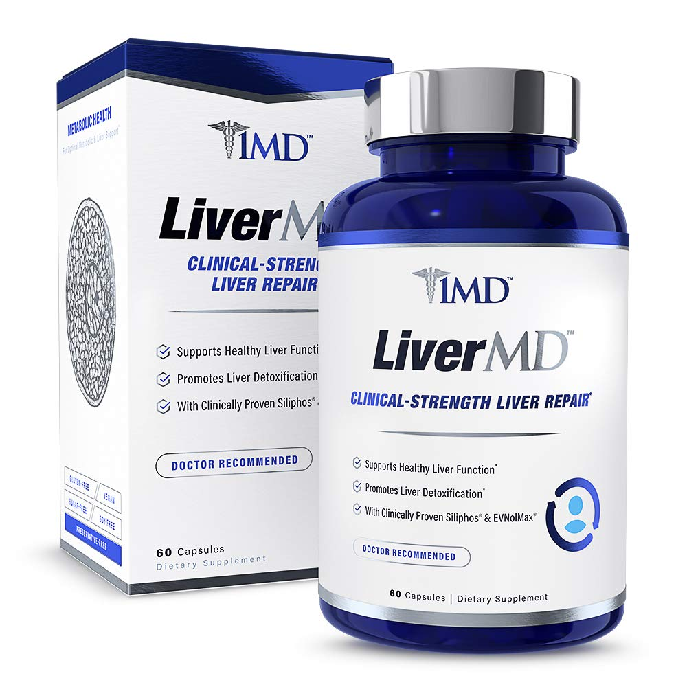 1MD LiverMD - Liver Cleanse Supplement | Milk Thistle Extract - Highly Bioavilable, Clinically Studied for Liver Detox | 60 Capsules by 1MD