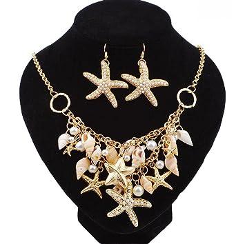 aa0102c3dac4 WHUI Moda Estilo Marinero Estrella De Mar Caracola Conchas Perlas De  Imitación Colgantes Collar Conjunto Pendientes para Accesorios De Verano  Playa Chica  ...