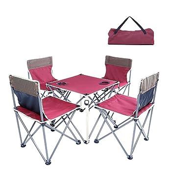 QIANGDA Mesa Plegable Acampada Silla Set De 5 Piezas Tubería ...