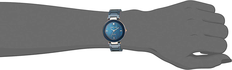 Anne Klein Women's Genuine Diamond-Accented Ceramic Bracelet Watch Navy Blue/Rose Gold