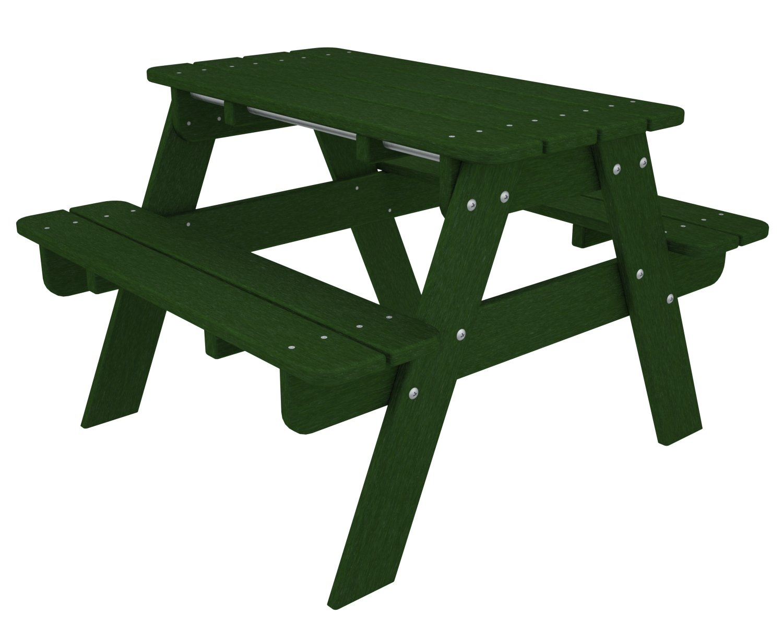 POLYWOOD KT130GR Kids Picnic Table, Green
