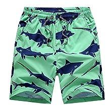 Men¡¯s Swim Trunks Summer Boardshorts Shark Printed Quick Dry Beach Shorts