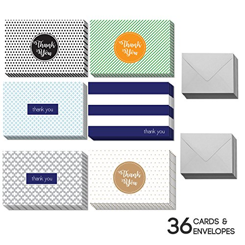 36 Blank Thank You Cards - Bulk 4x6 Cute Colorful Cards with Envelopes for Men & Women (Thank Birthday Cards Baby You)
