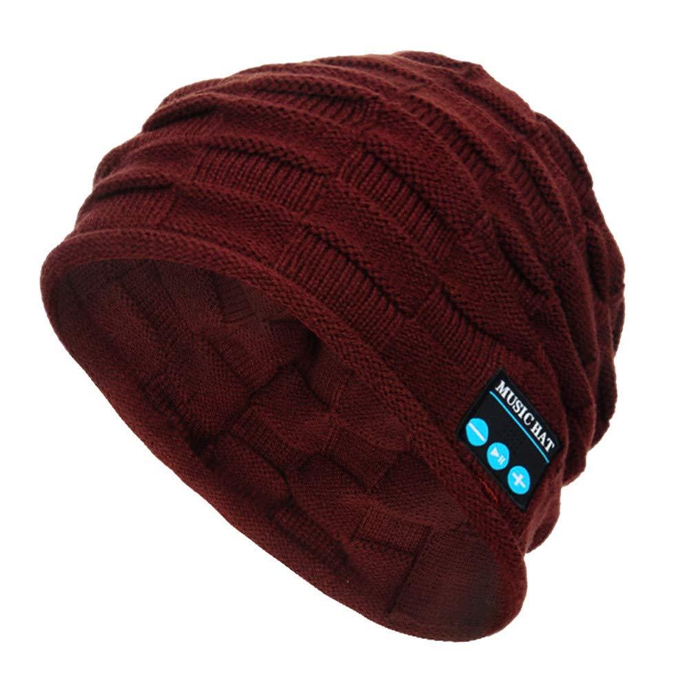 LILICAT❋ Gorra Cuadrada de Punto de música Bluetooth, Winter Unisex Bluetooth Wireless Beanie Hat Manos Libres Altavoz de música (Azul, Negro, Gris, ...