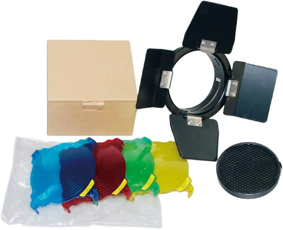 for Godox BD-03 Studio Photo Red Yellow Blue Green Yunchenghe Barn Door with Honeycomb Grid and 4 Color Gels Set Kits
