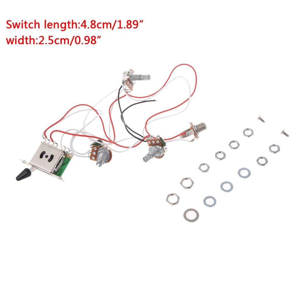 amazon com: ulkeme guitar wiring harness pickup 1v2t1j 5 way switch 500k  pots jack for fender strat: musical instruments