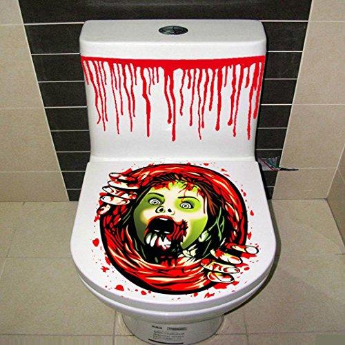 Hot Sale ! Halloween 3PC/Set,Beautyvan Charming Happy Halloween HalStyle Pedestal Rug + Lid Toilet Cover + Bath Mat 3PC/Set (I)