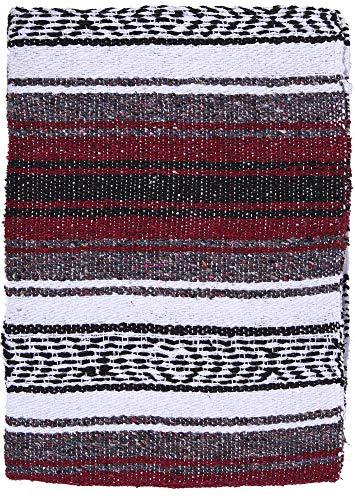 (El Paso Designs Genuine Mexican Falsa Blanket - Yoga Studio Blanket, Colorful, Soft Woven Serape Imported from Mexico (Burgundy))