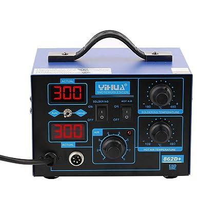 Soldador 2 en 1 con electrodos 862D, máquina de soldadura digital profesional de 400 W