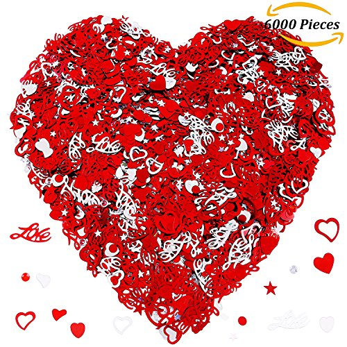 Aneco 100g/6000 Pieces Love Heart Table Confetti Pentagram for Arts and Crafts Valentine's Day Wedding Decorative Party Decoration Supplies,Red and Sliver
