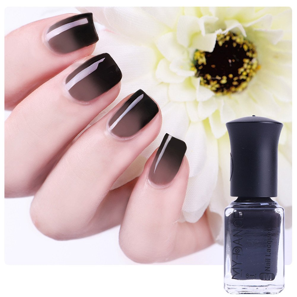 BORN PRETTY 1 Bottle 6ml Thermal Nail Polish Color Changing Peel Off Black To