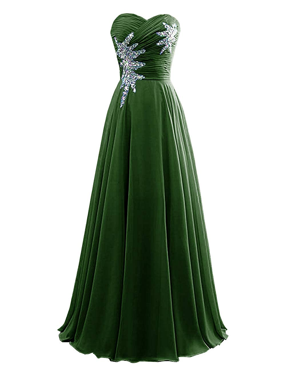 Dark Green Women's Strapless Bridesmaid Dresses Beaded Prom Wedding Party Gowns
