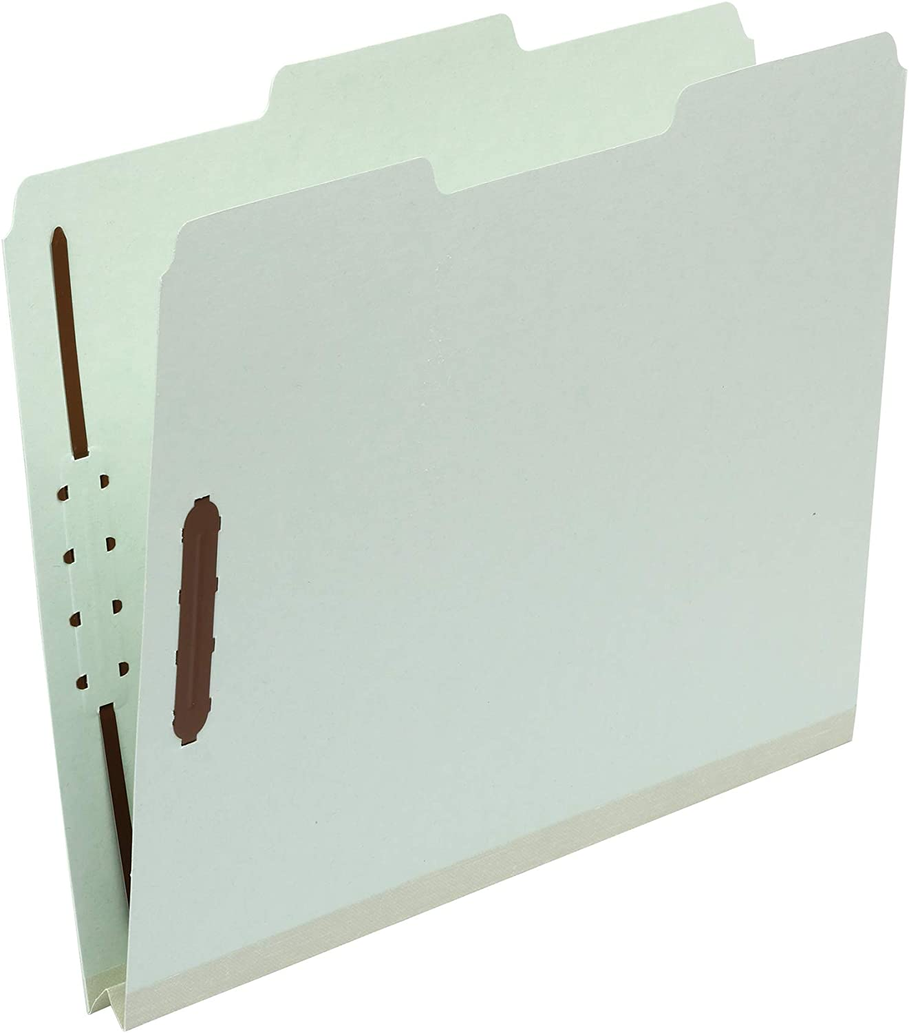 "AmazonBasics Pressboard Fastener Folder - 100% Recycled, 1/3 Tab, 1"" Expansion, 2"" Fastener, Light Green, Letter, 25 per Box"