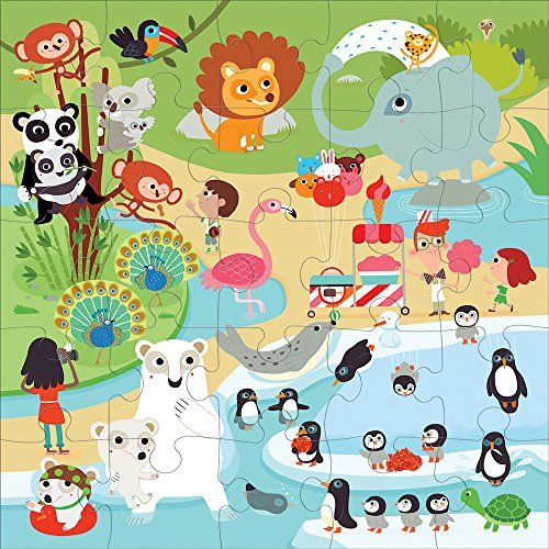 "Mudpuppy At the Zoo Jumbo Puzzle, 25 Jumbo Pieces, 22""x22"" – Great for Kids Age 2+ - Whimsical Zoo Scene with Colorful Animals – Helps Develop Hand-Eye Coordination -Convenient Rope Handle on Box"