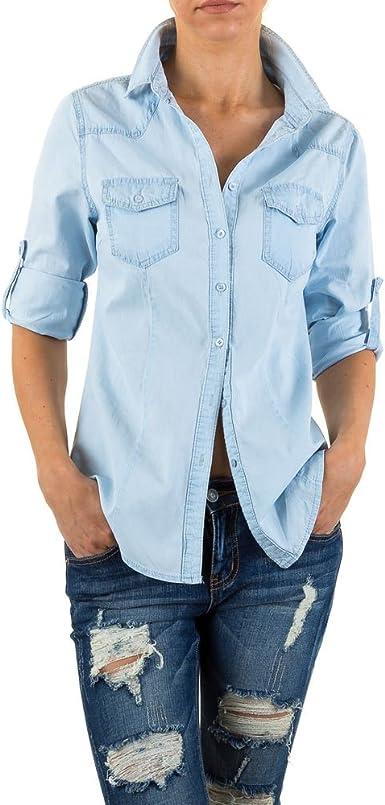 Ital-Design Camisa Vaquera con Aspecto Usado para Mujer ...