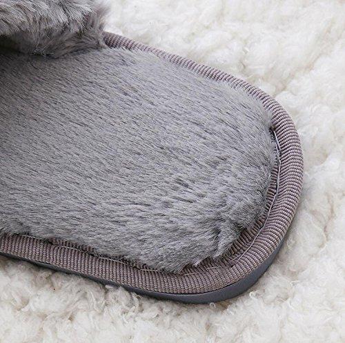 DANDANJIE Zapatos de Mujer de Invierno Comfort Slippers & Flip-Flops Flat Heel Round Toe para Casual Rosa Gris Negro Zapatos caseros Rosado