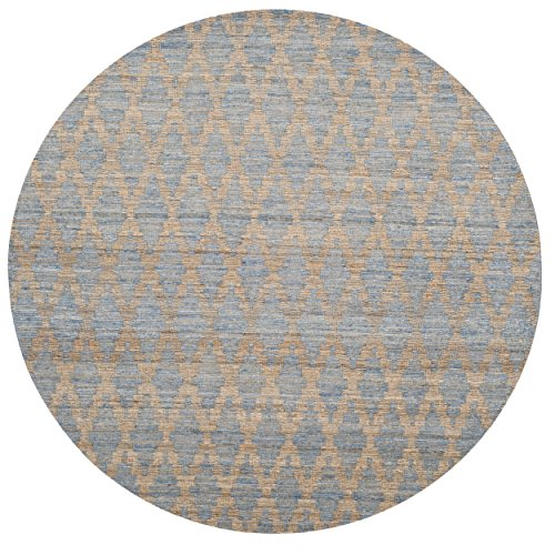 - Safavieh Cape Cod Collection CAP413A Hand Woven Geometric Light Blue and Gold Jute and Cotton Round Area Rug (6' Diameter)
