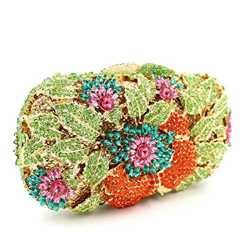 Lady Abend Kupplungen Schulter Blume Taschen Luxus Dinner Party Bunte Shells Abend Stickerei Kette Tasche
