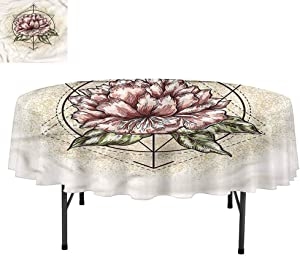 """Aishare Store Spring Stain Resistant Fabric Tablecloths, Sacred Geometry Blossoms, Decorative for Holiday Home Party, Round 50"""""""