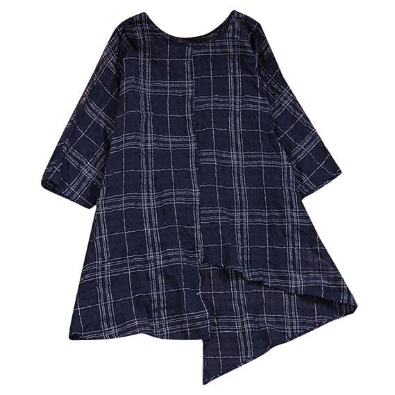 Yvelands Moda Femenina Elegante de la Vendimia de algodón Suelto de Lino de Tres Cuartos Manga Camisa a Cuadros Vestidos Camiseta de la Blusa Superior de la ...