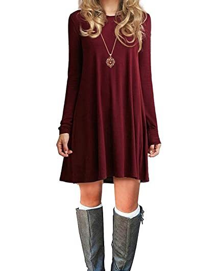 6e3d1951aacf Womens Basic Loose T-shirt Plain Long Sleeve Flowy Dress Simple Tank  Women s Tunic Wine
