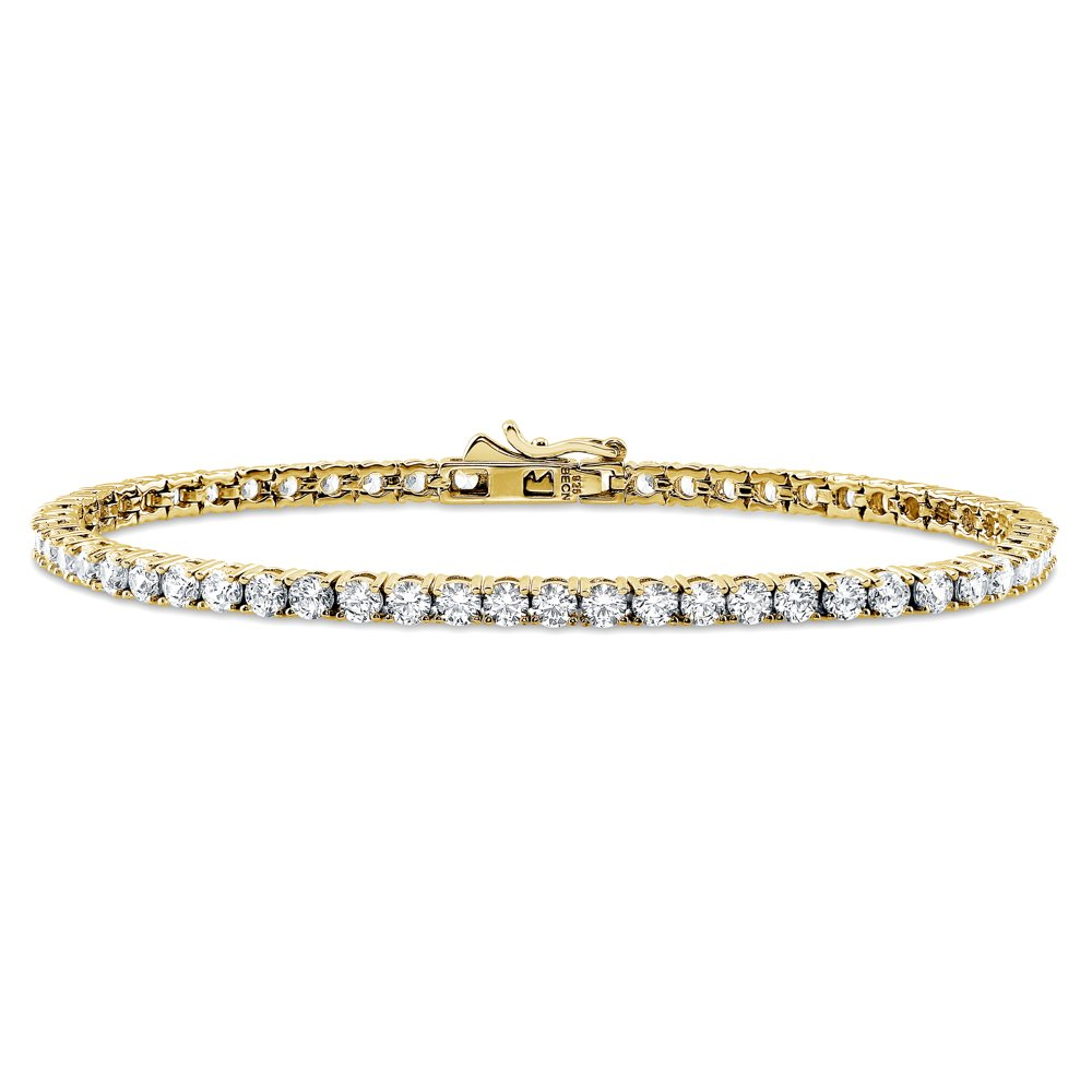 BERRICLE Yellow Gold Flashed Sterling Silver Tennis Bracelet Made with Swarovski Zirconia 7.5''