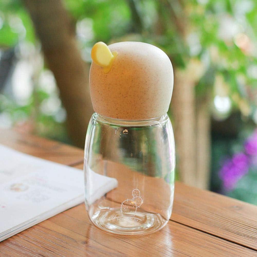 Capacidad de 320 ml Botella de agua de cabeza colorida creativa Diseño de cubierta especial Regalo de cumpleaños para niños Regalo de niña, gris