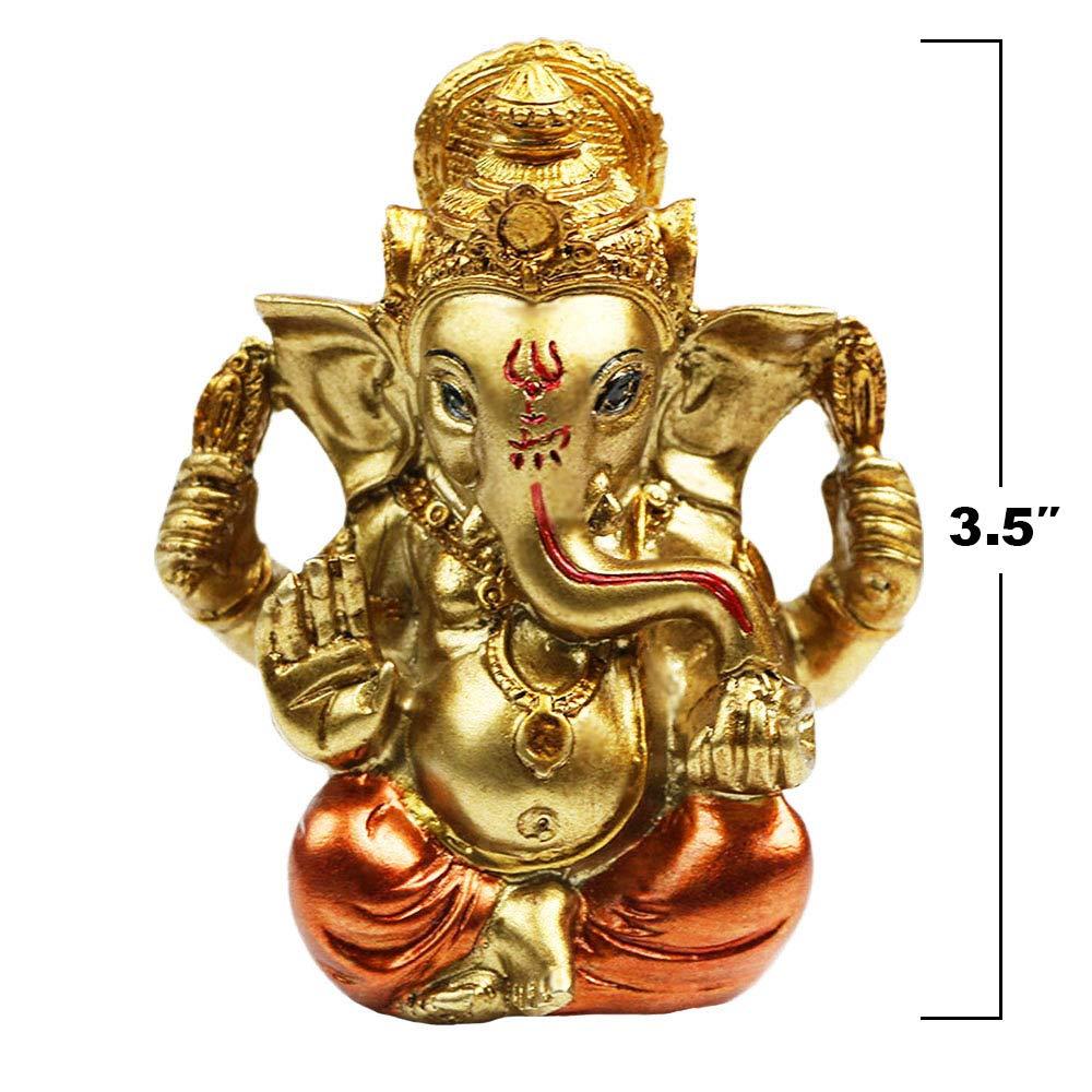 "3.5"" Mini Lord Ganesha Statues Hindu God Statue Ganesh Idol Figurine Ganapathi Fengshui Inida Elephant Buddha for Wedding Diwali Home Decors Yoga Decoration Meditation Ornament"