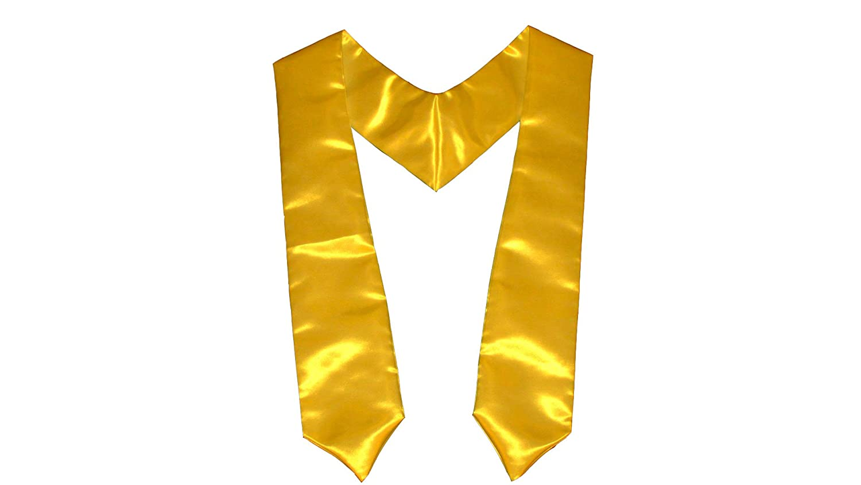 LA Linen 5 by 72 Bridal Satin Graduation Sash/Stole / Pack of 1 / Yellow Stole_Bridal-72X5_Yellow