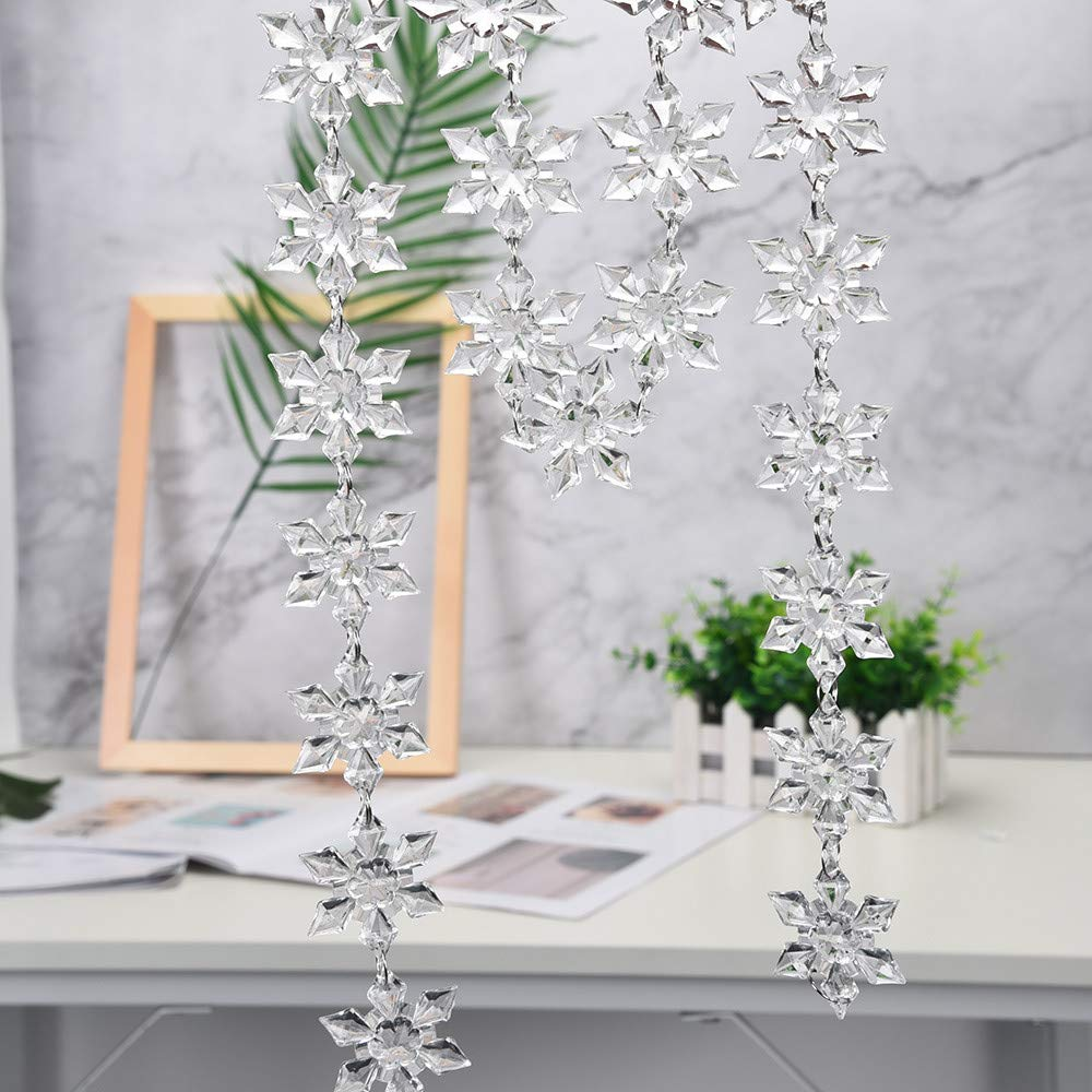 BOLUOYI Acrylic Snowflake Christmas Wedding Tree Hanging Decoration for DIY P