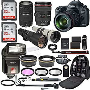 Canon EOS 5D Mark III 22.3 MP CMOS 1080p Full HD Camera with EF 24-105mm f/4 L IS USM Lens + EF 75-300mm f/4-5.6 III + 500mm Telephoto Zoom + 650-1300mm Telephoto Lens + Accessories (21 Items)