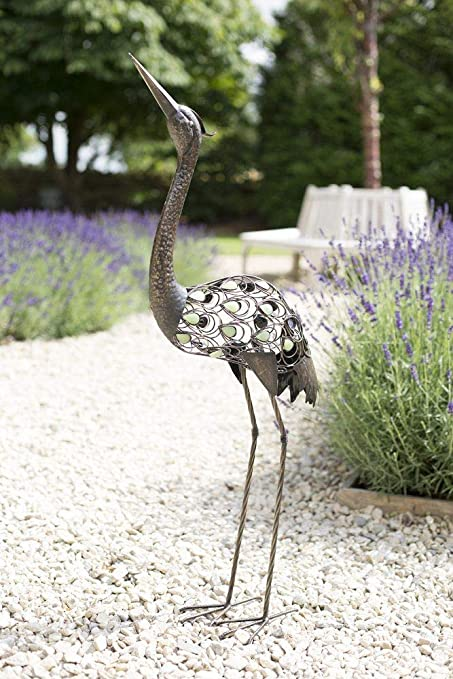 Metal Sculpture Outdoor Indoor Patio Decoration Garden Conservatory Patina Crane