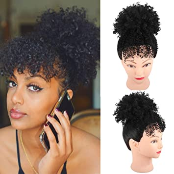 Yiti High Puff Afro Ponytail Drawstring With Kinky Curly Bangs Short Afro Kinky Curly Pony Tail Clip In On Synthetic Curly Hair Bun Puff Ponytail Wrap