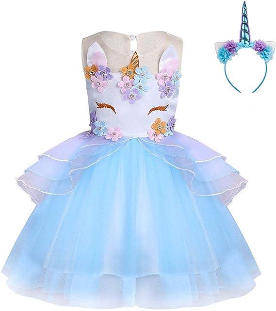 FONLAM Vestido de Fiesta Princesa Niña Bebé Disfraz de Unicornio ...