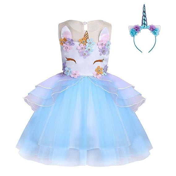 FONLAM Vestido de Fiesta Princesa Niña Bebé Disfraz de Unicornio Ceremonia Cumpleaños Vestido Infantil Flores Carnaval Niña Cosplay
