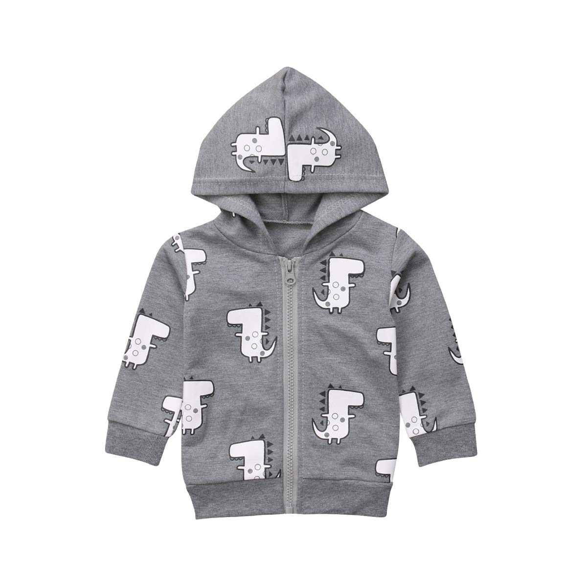 WANGSCANIS Dinosaur Baby Boys Kids Zipper Hooded Jacket Hoodies Coat Sweatshirt Outerwear