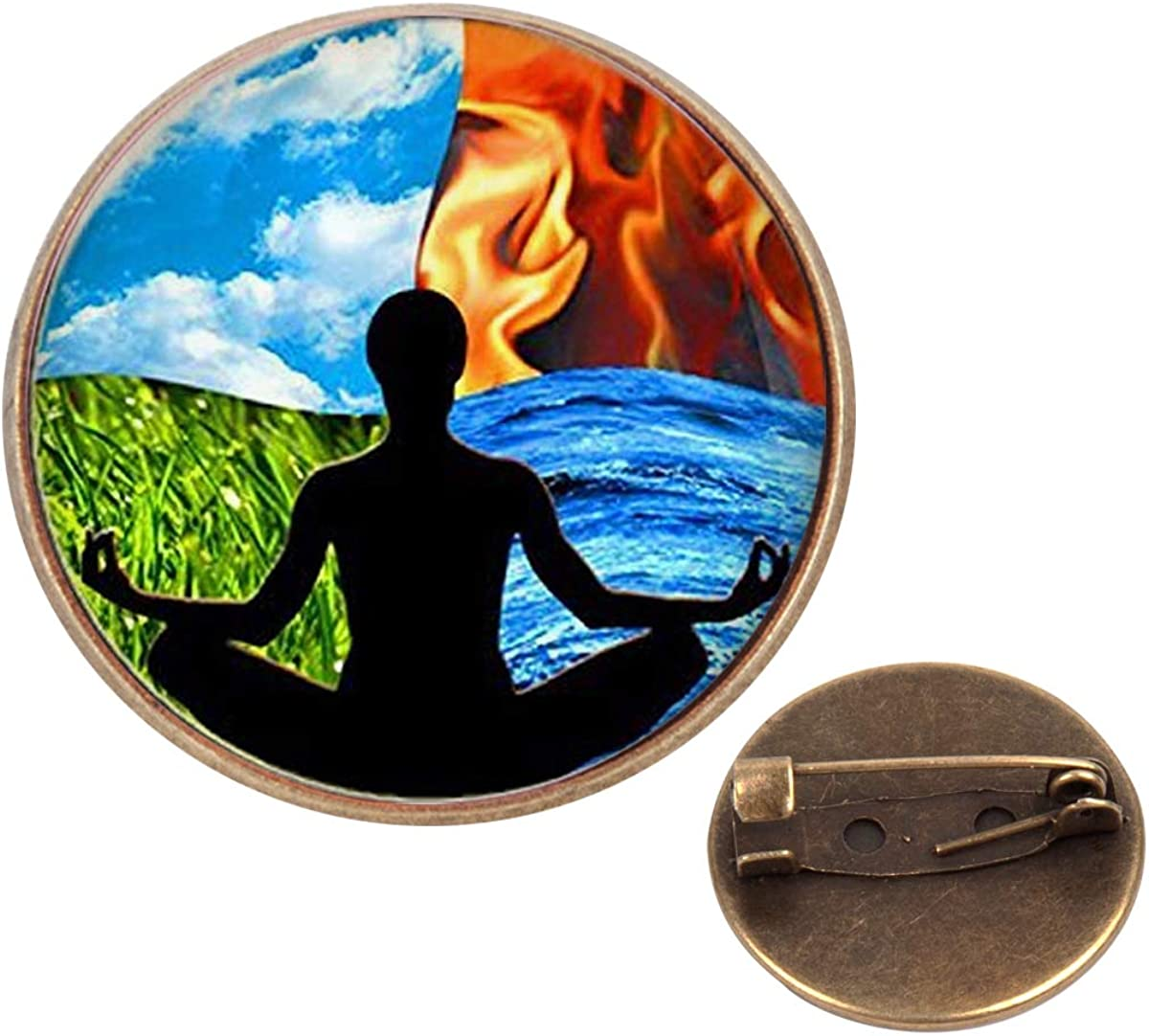 Pinback Buttons Badges Pins 4 Seasons Meditation People Lapel Pin Brooch Clip Trendy Accessory Jacket T-Shirt Bag Hat Shoe